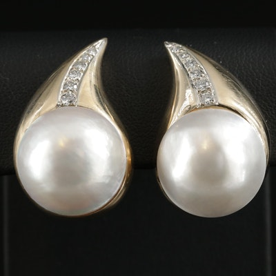 14K Yellow Gold Cultured Pearl and Diamond Teardrop Clip-On Earrings