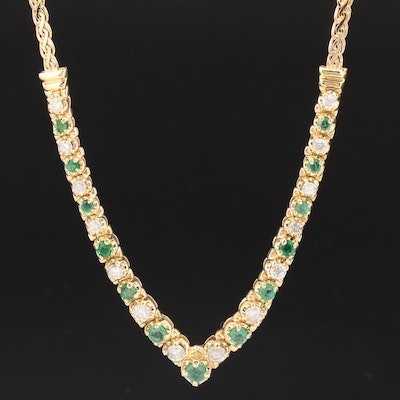 14K Gold 1.05 CTW Diamond and Emerald Chevron Necklace
