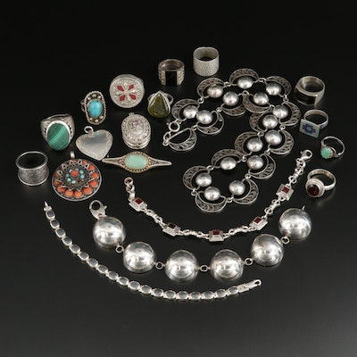 Collection of Sterling Silver Jewelry with Garnet, Malachite and Amethyst
