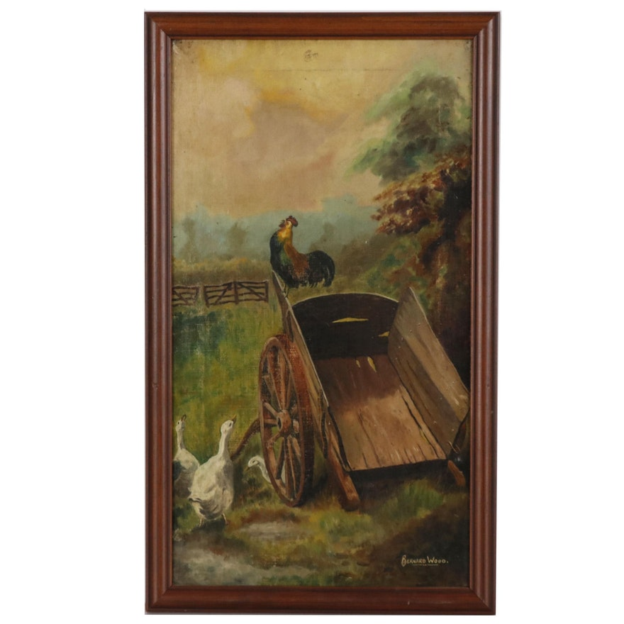 Bernard Wood Pastoral Oil Painting of Rooster on Cart