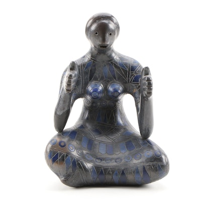 Manuel Felguerez Ceramic Sculpture of Seated Female Figure