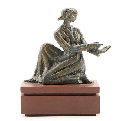 Robert C. Koepnick Bronze Woman Sculpture, Late 20th Century