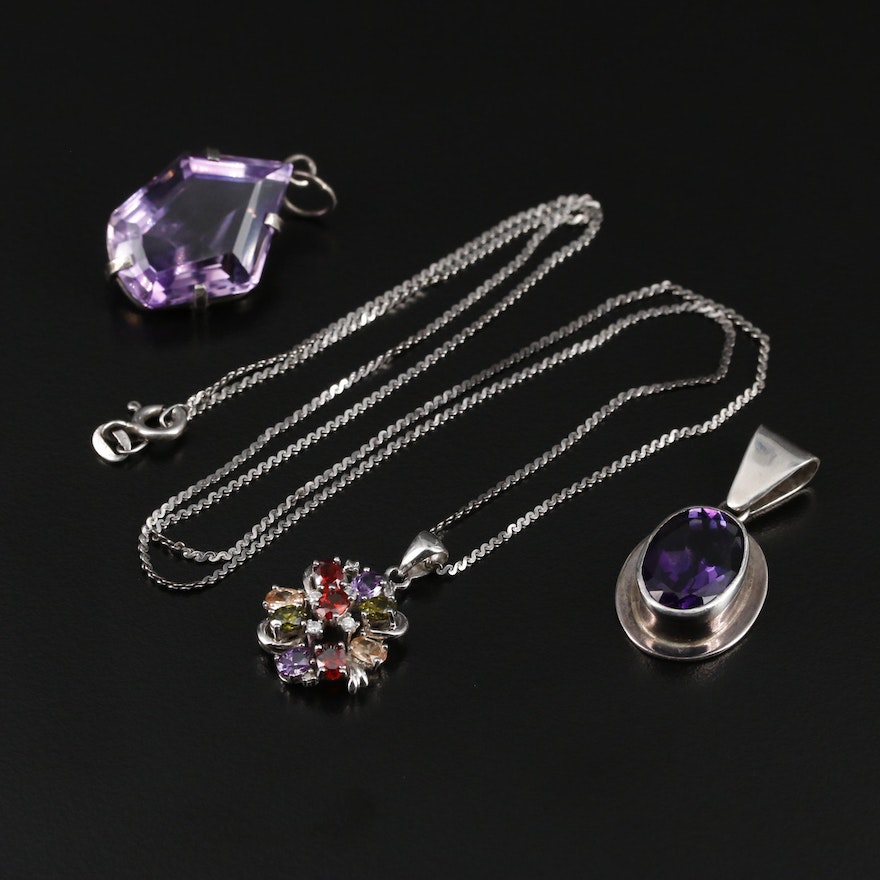 Sterling Silver Amethyst and Gemstone Pendants With Serpentine Link Chain