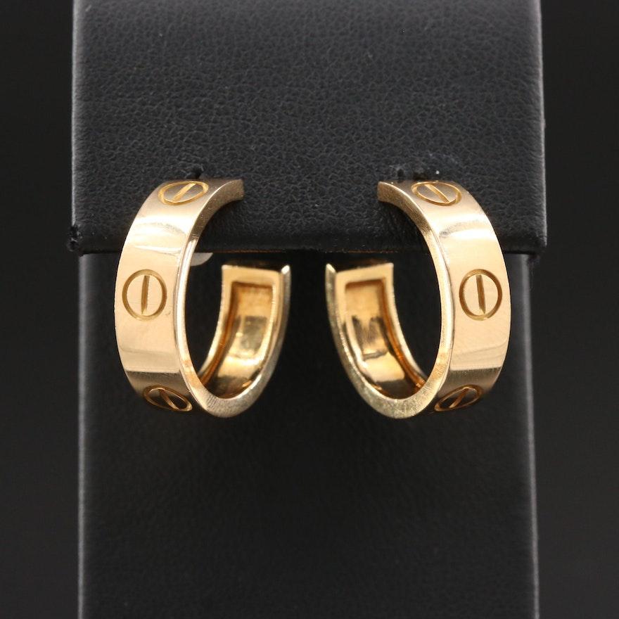 "Cartier ""Love"" 18K Gold Earrings with Certificate"