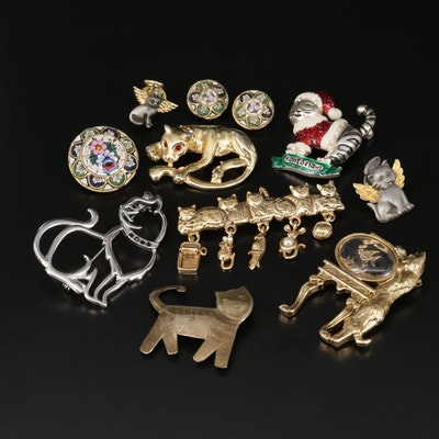 Assorted Vintage Cat Brooches and Micro Mosaic Jewelry