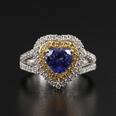 18K White Gold Tanzanite and Diamond Heart Shaped Ring