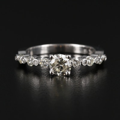 14K White Gold 0.80 CTW Diamond Ring