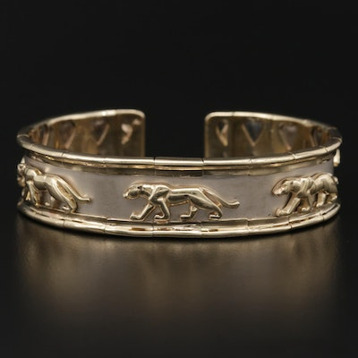14K Yellow and White Gold Panther Motif Cuff