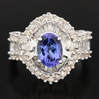 14K White Gold Tanzanite and 1.01 CTW Diamond Ring