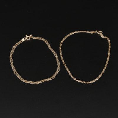 14K Yellow Gold Bismark and Braided Serpentine Chain Link Bracelets