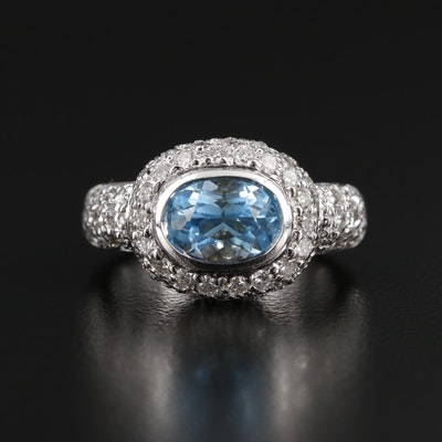 18K White Gold Blue Topaz and 1.90 CTW Diamond Ring