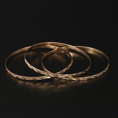 14K Yellow Gold Bright Cut Bangle Bracelets