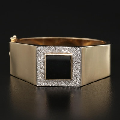 14K 1.36 CTW Pavé Diamond and Black Onyx Hinged Octagonal Bracelet