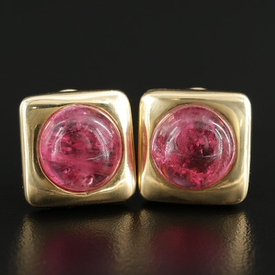 Manfredi 18K Yellow Gold Pink Tourmaline Square Button Earrings