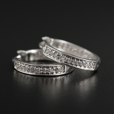 14K White Gold Diamond Inside Out Hoop Earrings