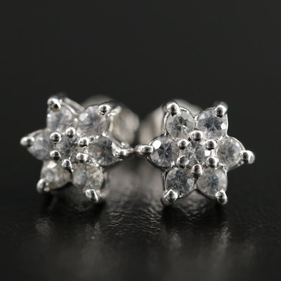 14K White Gold White Sapphire Stud Earrings