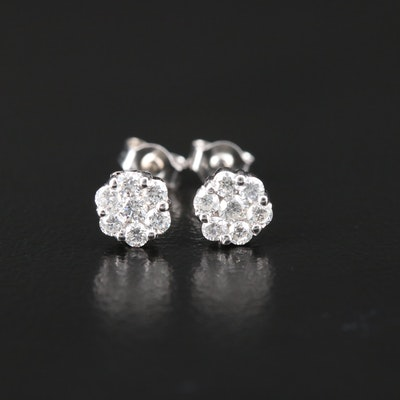 14K White Gold Diamond Cluster Stud Earrings