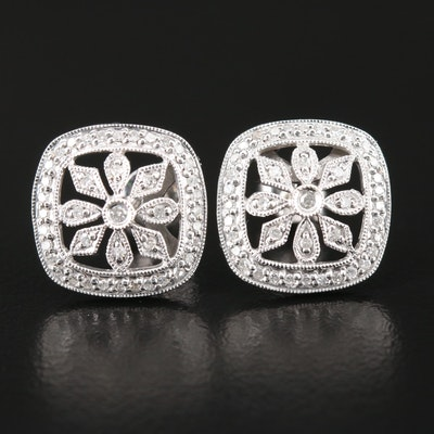 14K White Gold Diamond Floral Earrings