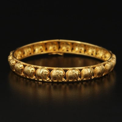 18K Yellow Gold Bangle Bracelet with Elephant Motif