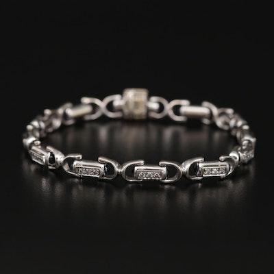 Charriol 18K Sapphire and Diamond Fancy Link Bracelet