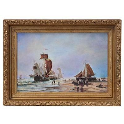 After Alexei Petrovich Bogoliubov Oil Painting of Maritime Scene, 1870