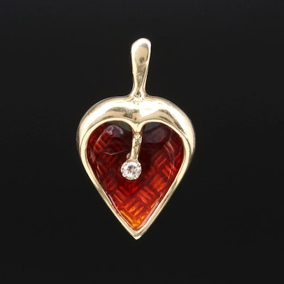 14K Yellow Gold Diamond and Enamel Heart Pendant
