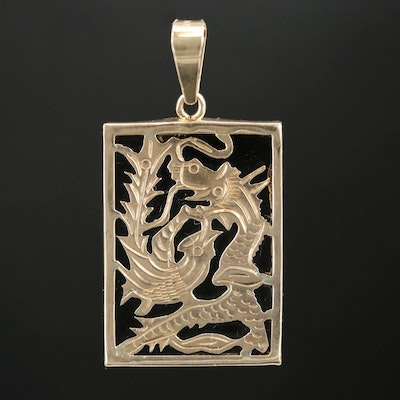 14K Yellow Gold Black Onyx Dragon vs Phoenix Square Pendant