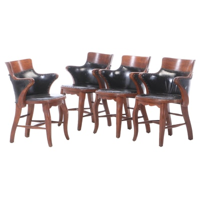 Set of Four Oak Poker Armchairs, Early 20th Century