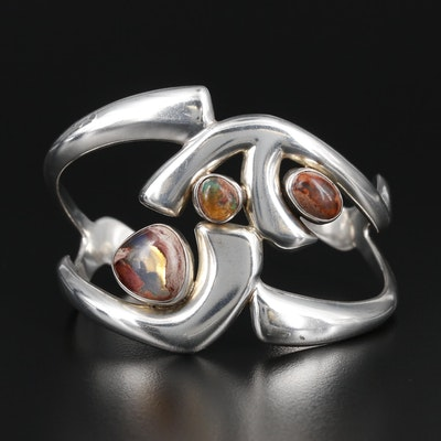 Sterling Silver Boulder Opal Contemporary Cuff Bracelet