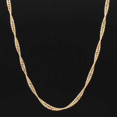 14K Yellow Gold Spiral Curb Link Chain
