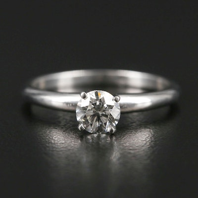 Platinum 0.50 CT Diamond Solitaire Ring with AGS Report