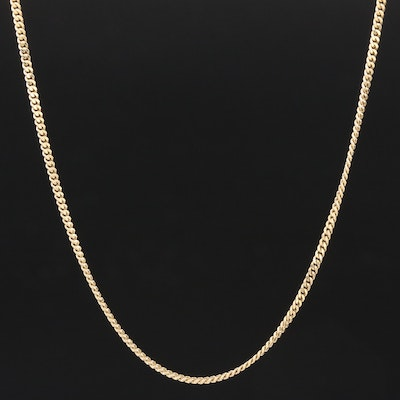 14K Yellow Gold Curb Link Chain Necklace