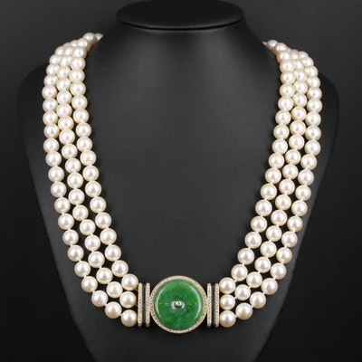 18K Gold Jadeite, Diamond, Pearl and Black Onyx Triple Strand Necklace
