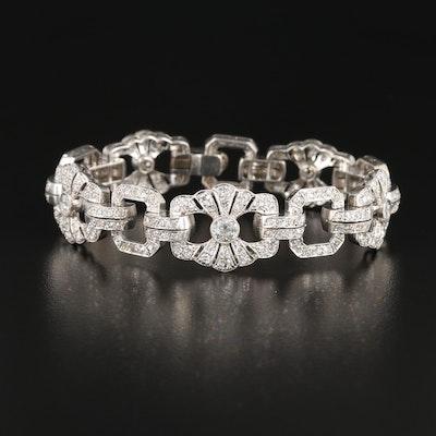 Early Art Deco Platinum 3.51 CTW Diamond Link Bracelet