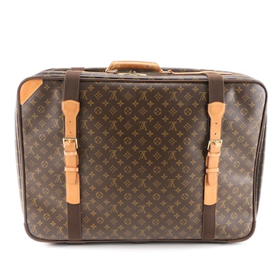 Louis Vuitton Satellite 70 Soft-Sided Suitcase in Monogram Canvas and Leather