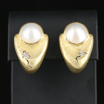 SeidenGang 18K Gold Pearl and Diamond Earrings with Platinum Accents