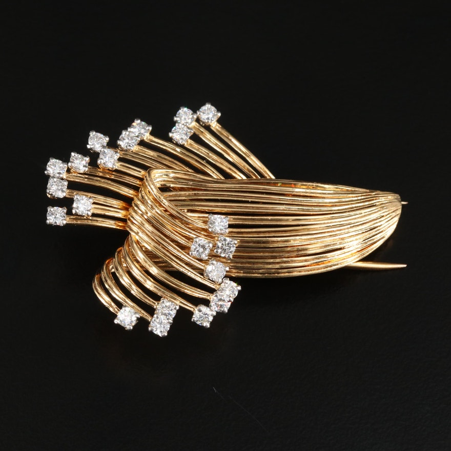 Circa 1950 Cartier Platinum and 18K Gold 1.10 CTW Diamond Fur Clip