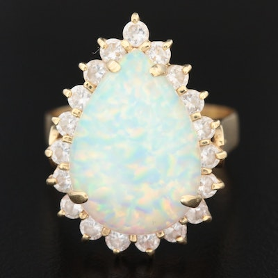 14K Yellow Gold Synthetic Opal and Cubic Zirconia Ring