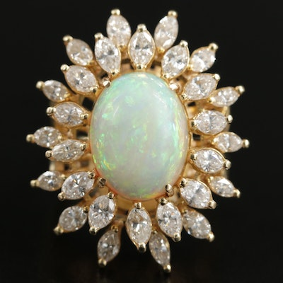 18K Yellow Gold Opal and 2.98 CTW Diamond Ring