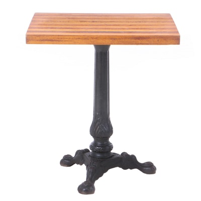 Cast Iron and Mixed Wood Pub Table, Mid 20th Century