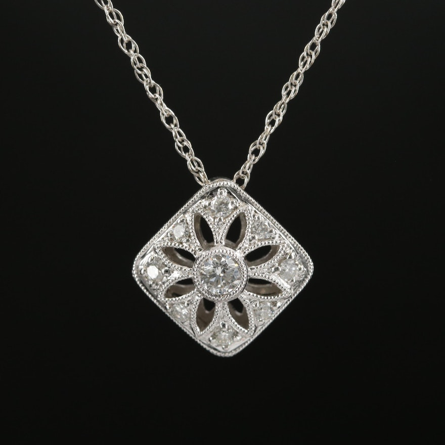 18K White Gold Diamond Pendant with 14K Gold Singapore Chain Necklace