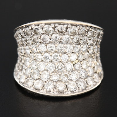18K White and Yellow Gold 2.98 CTW Pavé Diamond Anticlastic Ring