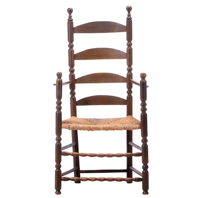 Early American Ladder-Back Armchair with Rush Seat, Early 19th Century