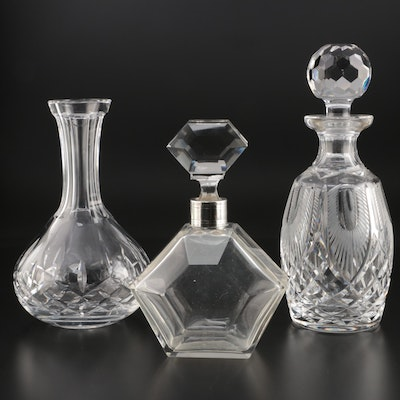 Waterford Crystal Decanters and Decanter with 800 Silver Collar