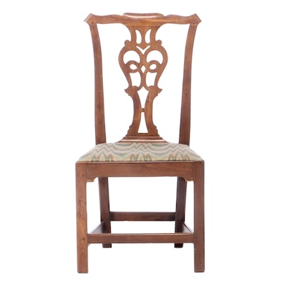 Chippendale Pierced-Splat Fruitwood Side Chair, Late 18th Century