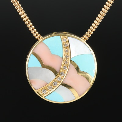 Asch Grossbardt 14K Gold Inlaid Multi-Gemstone Reversible Pendant Necklace