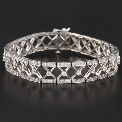 Vintage 14K Gold 3.12 CTW Diamond X Link Bracelet