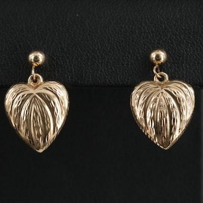 14K Yellow Gold Puff Heart Earrings