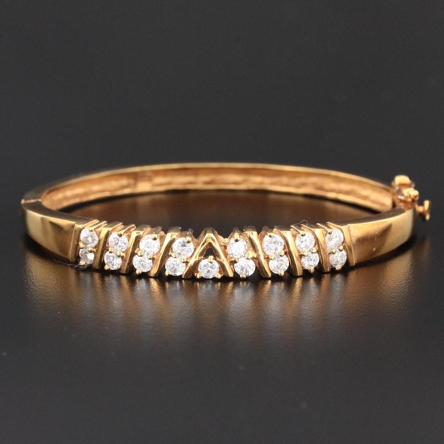 Cubic Zirconia Hinged Bangle Bracelet