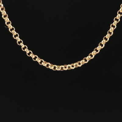 14K Yellow Gold Rolo Link Chain Necklace